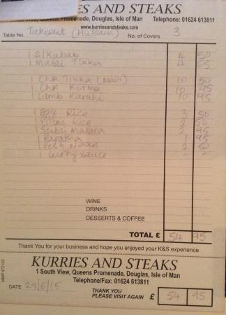 Kurries And Steaks: Tahir Hussain Takeout Order