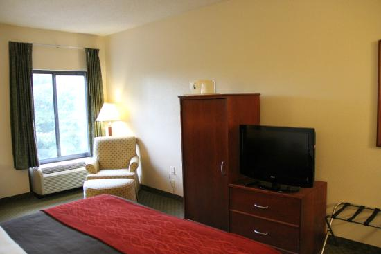 Comfort Inn & Suites Dalton: TV area with easy chair.  No counter space here, use the desk.