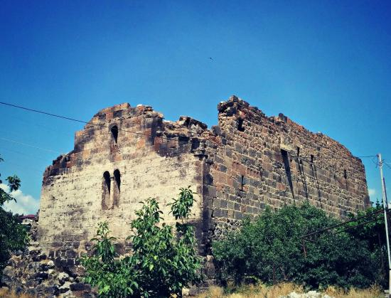 The partly ruined Tsiranavor Church in Ashtarak, Armenia