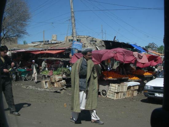 Balkh, أفغانستان: Många gatustånd där man kunde handla mycket frukt och grönt.