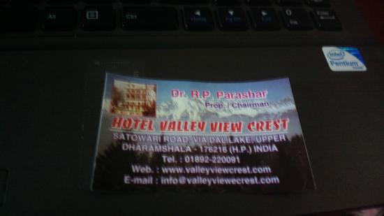 Hotel Valley View Crest: hotel visitng card (no 2 or 3 star)