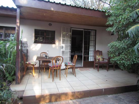 Kasane Self Catering: The veranda with seating and eating area.
