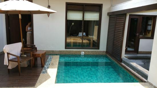 Open Air Swimming Pool Between Living Room And Bedroom The Study Table Is Seen Through Window Picture Of The Banjaran Hotsprings Retreat Ipoh Tripadvisor