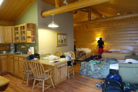 ‪‪Sheep Mountain Lodge‬: Full kitchen to left out of view. Sofa bed in use.‬