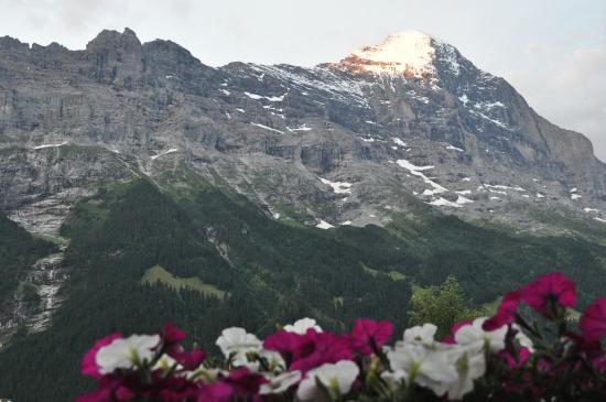 Hotel Restaurant Alpina Grindelwald: 部屋のテラスから朝日に映える山々