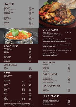 West Bromwich, UK: Our current menu