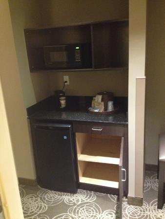 Mini fridge, microwave, coffee pot, cabinets - Picture of Best ...