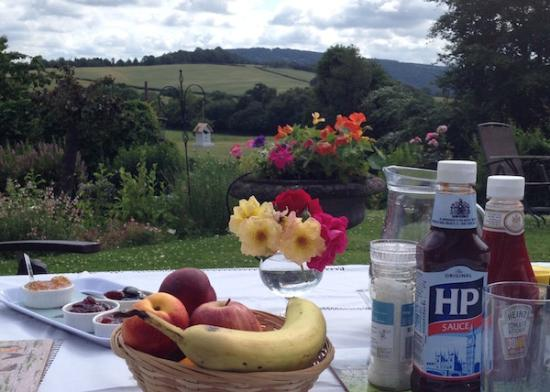 Redhill Grange Bed and Breakfast: Breakfast table laid in the garden