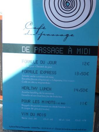 café du passage : formules repas