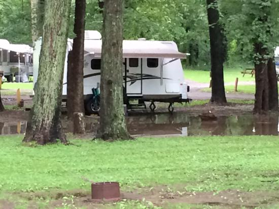 Brunswick, MD: Our flooded campsite.