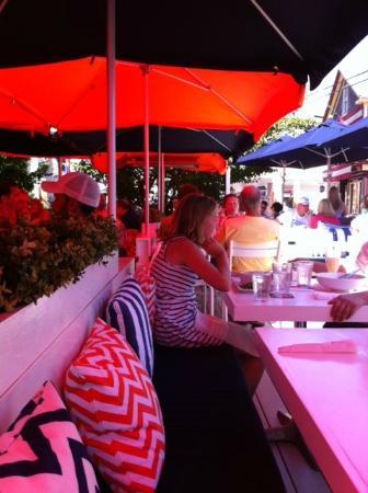 Patio American Grill: Patio Under The Red Umbrella