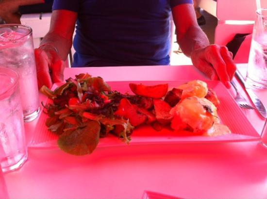 Patio American Grill: Crab Benedict Under The Red Umbrells