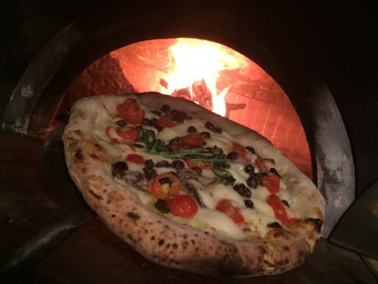 Pizza Vesuviana Mozzarella,anchovies,smoked mozzarella and cherry ...