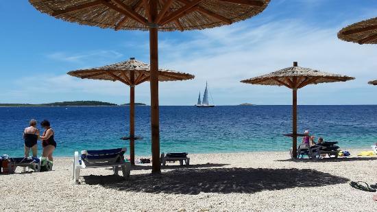 Primosten, Kroatië: Beach in front of room