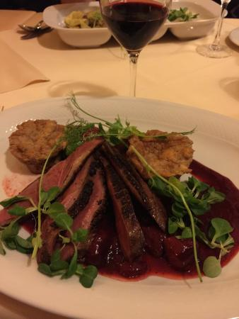 Duck breast in strawberry reduction