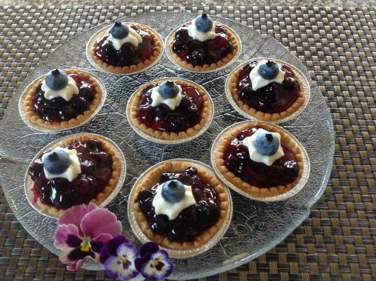 Sutherland Blueberry Bed & Breakfast: One of our welcome treats for guests, blueberry glazed tarts