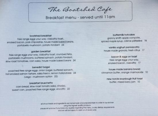 Breakfast menu 1 - Picture of The Boatshed Restaurant, South