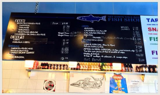 Mt. Eden Village Fish Shop: The Menu
