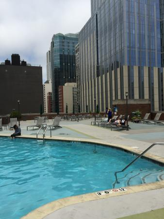 View Of The Hotel Rooftop Pool And Parking Across The