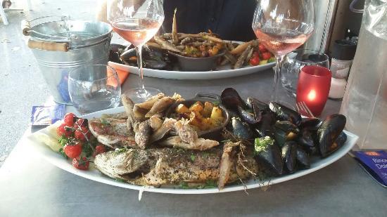 La salinoise : Assiette de la mer: loup, girolles, rougets et moules. C'était frais et très copieux.
