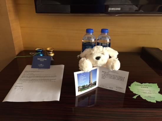 Howard Johnson Tianzhu Plaza Fuyang: HoJo Welcome Bear & Complimentary Water