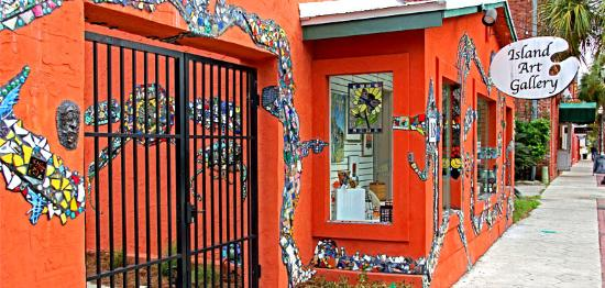 Island Art Association: IAA Gallery entrance with mosaic views
