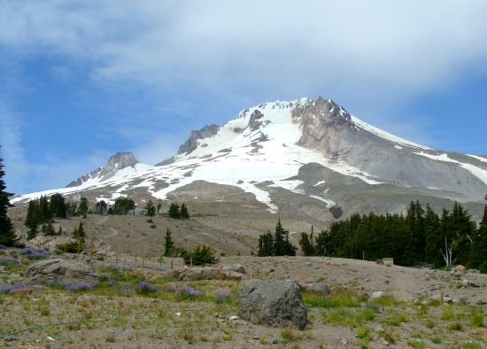Timberline Lodge Ski Area: Mt. Hood as viewed from the patio
