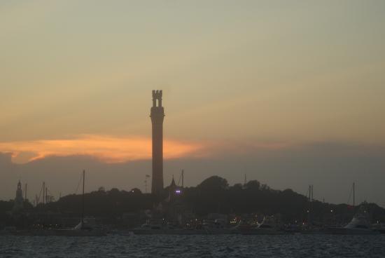 Schooner Bay Lady II: Pilgrim Monument from Bay Lady on sunset cruise