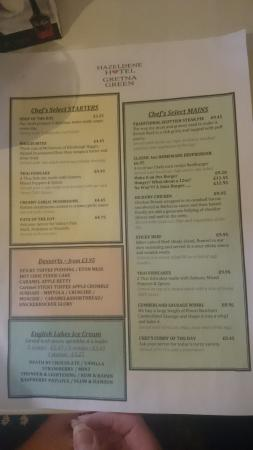 Hazeldene Hotel: This is a photo of the menu that we were provided with on arrival.