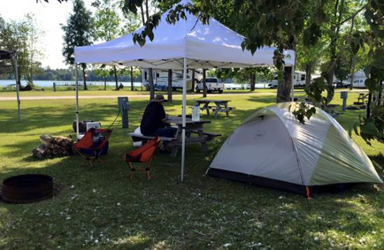 Cedarville, MI: Our campsite midweek
