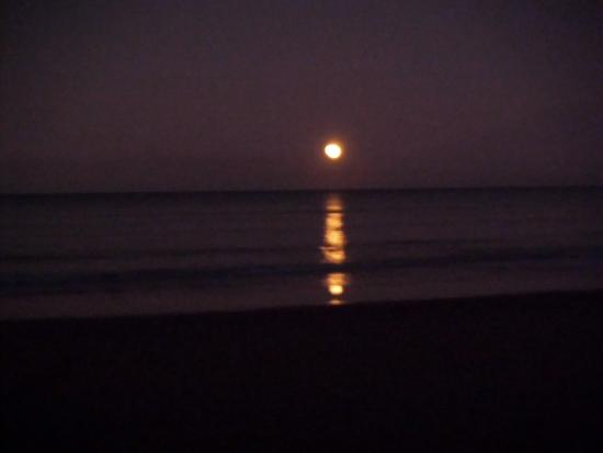 Don Pancho Beach Resort: Moon over the sea
