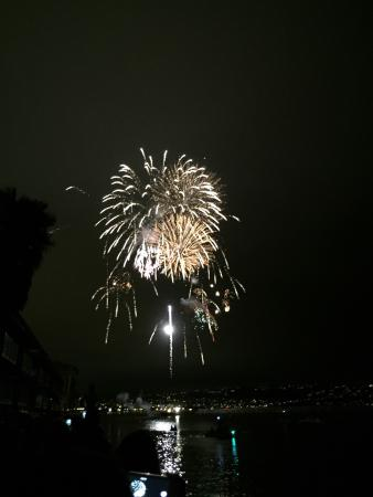 The Redondo Beach Hotel Fireworks Over Water From
