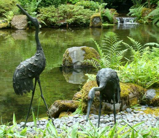Portland Japanese Garden: Crane Sculptures