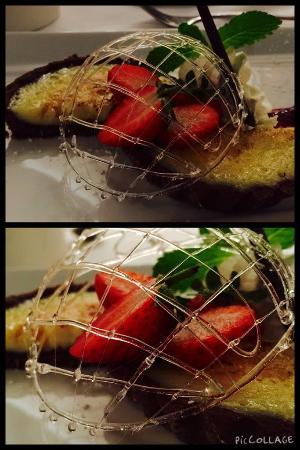Sinatra's: one of their brilliant lemon tarts with chocolate base, raspberry sauce