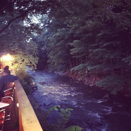 Bear Cafe: Creek side table