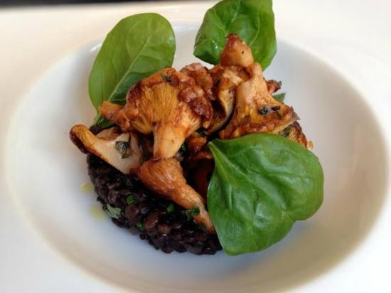 Willi's Wine Bar: Beluga lentils with girolles and aromatic herbs,my friend's dish