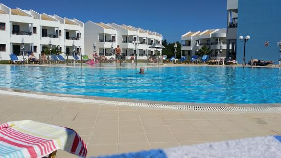 A view across the pool to the Apartments and Studios