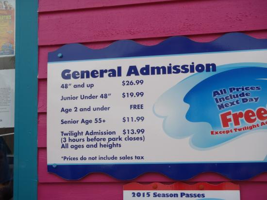 Myrtle Beach, SC: Price List at Entrance