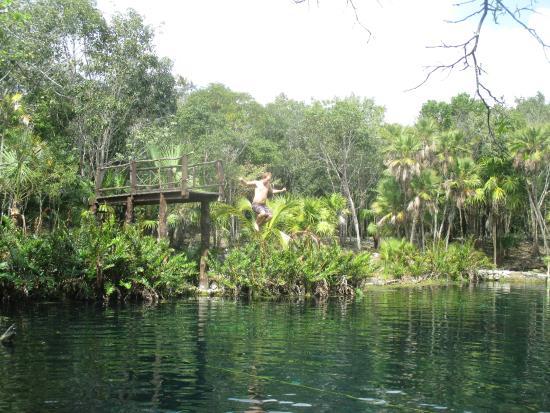 Cenote Crystal: Jumping platform at Cenote Cristal
