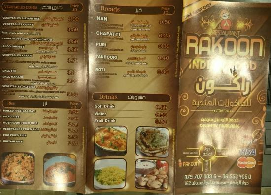 Rakoon Indian Food Amman Menu