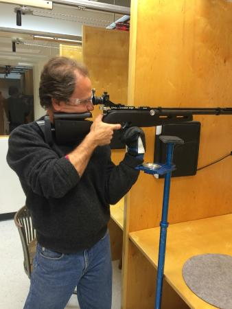 New England Airgun - Indoor Shooting Range: Chas Being coached