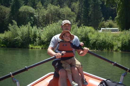 Morrison's Rogue River Lodge: Guide rowing with my son