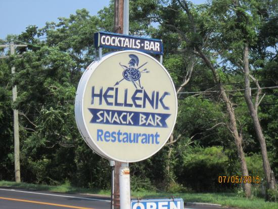 Hellenic Snack Bar & Restaurant: Look for the sign just east of Greenport ofn 25 A/sound Road