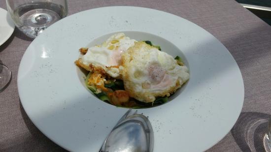 Mauro Restaurante: Tagliatelle de calabacín con zamburiñas y huevo