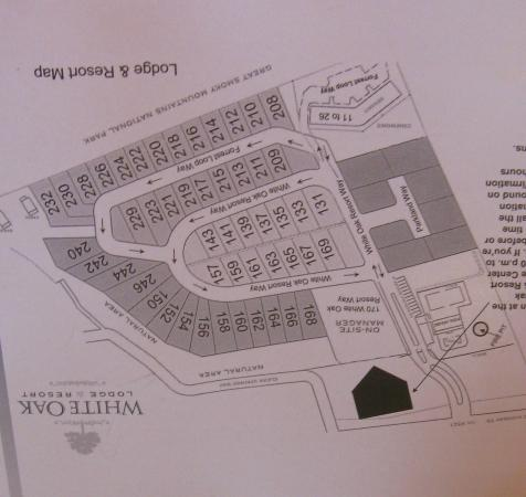 White Oak Lodge & Resort: Property map facing resort