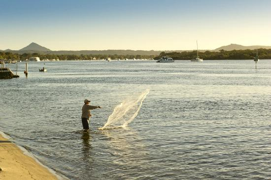 Noosa River Holiday Park : You can fish right out the front of the camping ground on the Noosa River