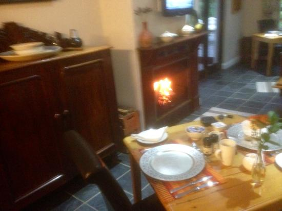 Caledon 23 Country House: Blazing wood fire in the breakfast area, just the thing on a cold winter's day