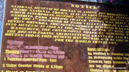 National Museum: Information Board