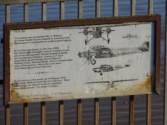 "Portmarnock Beach: Plaque commemorating the Australian aircraft ""Southern Cross"""