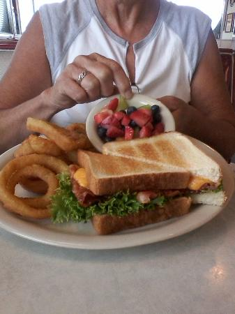 DJ's 50's and 60's Diner: BLT with Cheese, Onion Rings, Fresh Fruit Cup